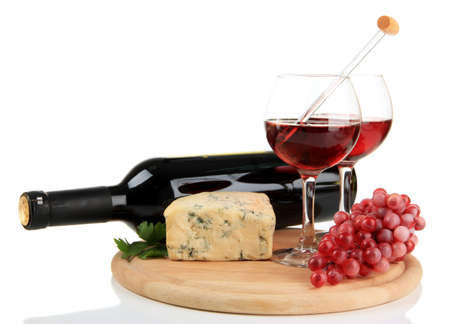 cheeseboard: Wine, tasty blue cheese and grape, isolated on white