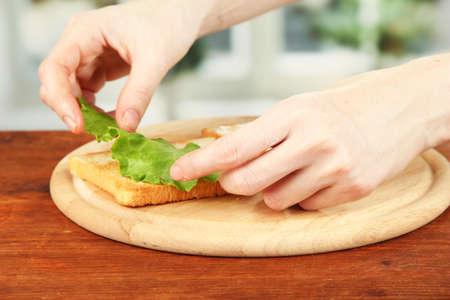 Process of preparing salami rolls on roasted bread ,on bright background: female hand puts salad leaf on roasted bread Stock Photo - 20811742