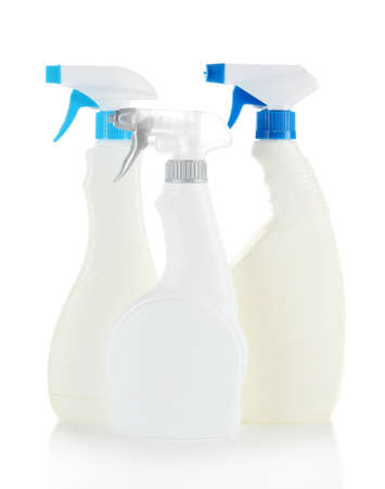 Different kinds of sprays for house cleaning, isolated on white photo