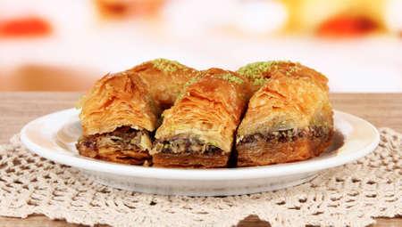 baklava: Sweet baklava on plate on table in room
