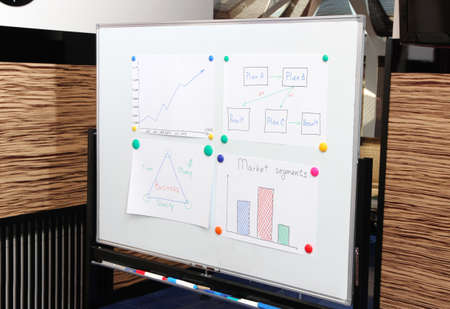 commercially: Whiteboard for plots and ideas in meeting room in office center