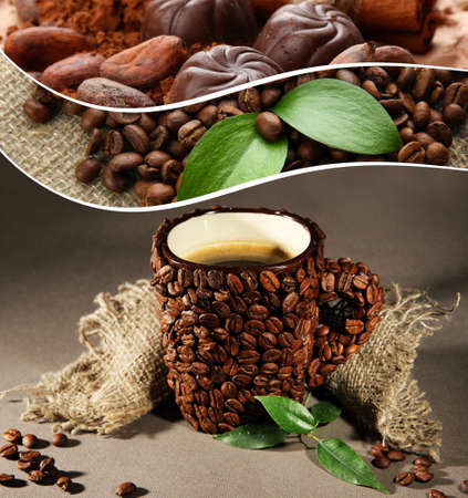 chocolate truffle: Cup of coffee beans, on grey background