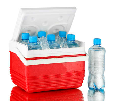 refrigerate: Traveling refrigerator with bottles of water and ice cubes, on grey background