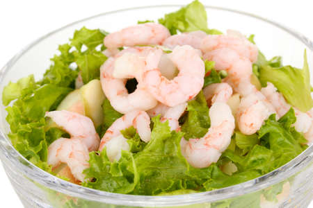 Delicious marinated shrimp in glass close-up photo