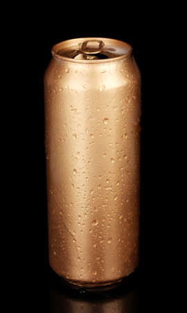 beer can: Aluminum can with water drops isolated on black