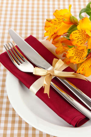 Festive dining table setting with flowers on checkered background Stock Photo - 20930075