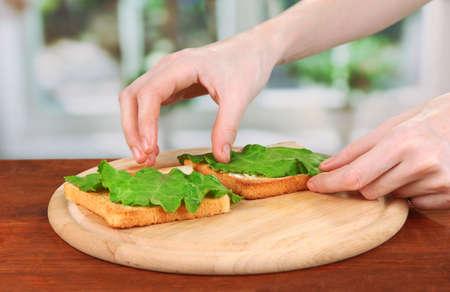 Process of preparing salami rolls on roasted bread ,on bright background: female hand puts salad leaf on roasted bread Stock Photo - 20930127