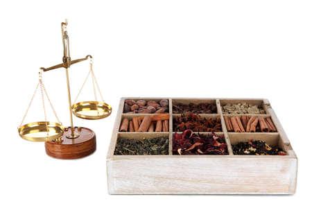 herbolaria: Venta de té y café aislados en blanco