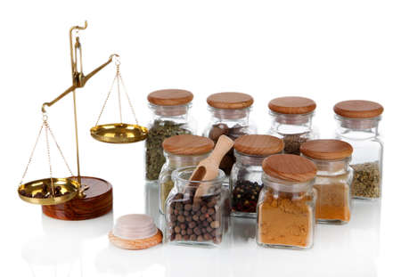 herbalist: Sale of spices isolated on white Stock Photo