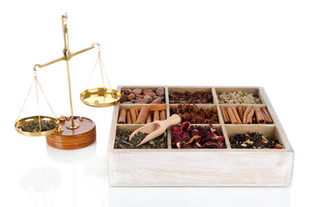 herbalist: Sale of tea and coffee isolated on white