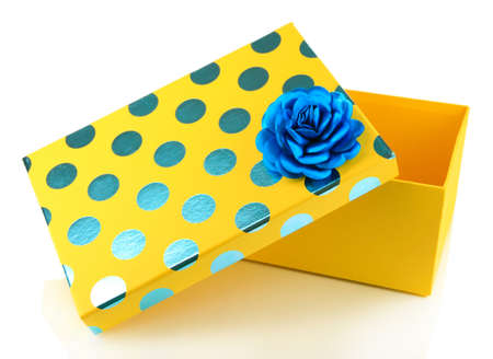 contrasty: Yellow box for gifts isolated on white