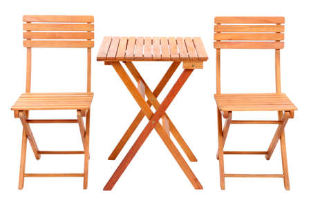 conjugation: Wooden table with chairs isolated on white