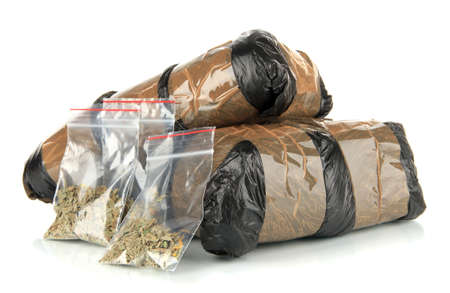 narcotics: Packages of  narcotics isolated on white