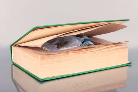 narcotics: Narcotics in book-hiding place on gray background Stock Photo