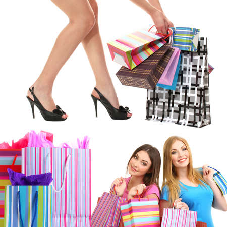 Amici della ragazza con lo shopping collage photo