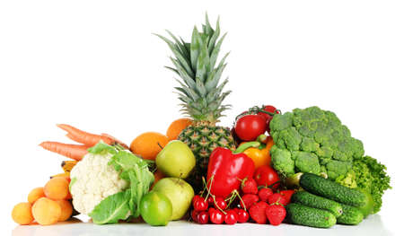 mixed vegetables: Assortment of fresh fruits and vegetables, isolated on white
