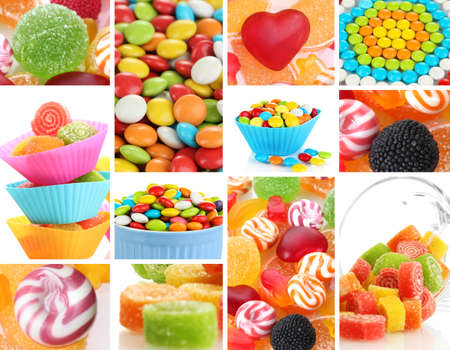 Collage of colorful candies photo