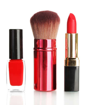 makeup a brush: Beautiful red lipstick, nail polish and brush isolated on white