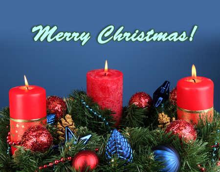 Beautiful Christmas wreath on blue background photo