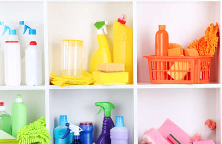 Shelves in pantry with cleaners for home close-up Stock Photo - 21034146