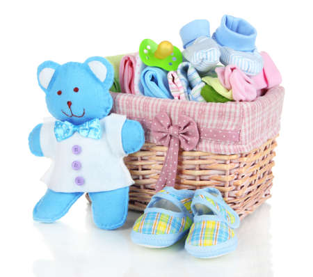 baby clothes: Baby accessories isolated on white Stock Photo