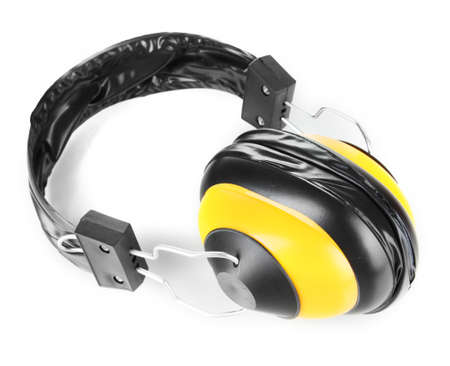 onslaught: Headphones isolated on white Stock Photo
