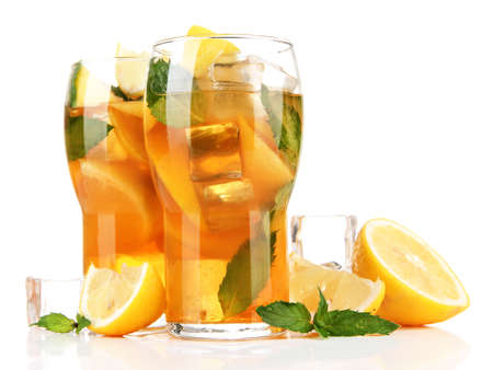 ice tea: Iced tea with lemon and mint isolated on white Stock Photo