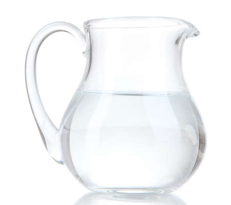 Glass pitcher of water isolated on white Фото со стока