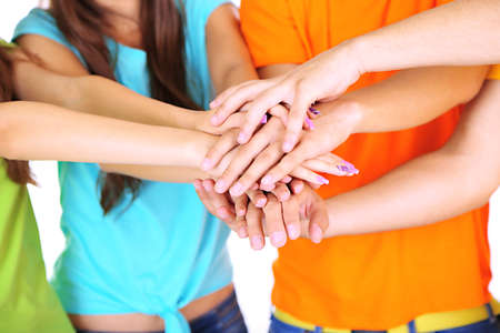 Group of young people's hands, close up Stock Photo - 21034876