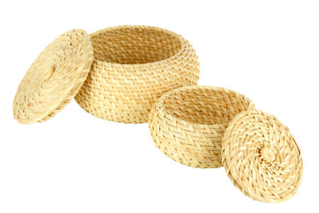 Wicker baskets isolated on white Stock Photo - 21035027
