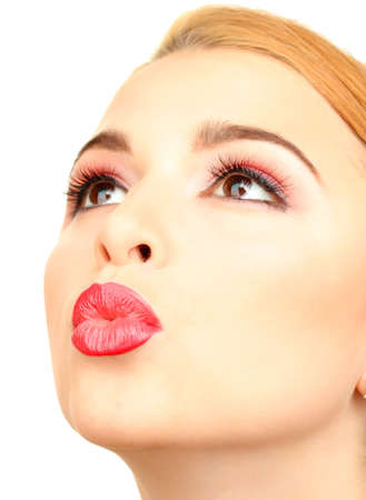 beautiful make up of glamour red gloss lips Stock Photo - 21553441