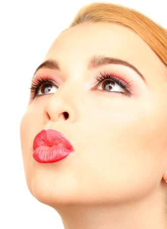 beautiful make up of glamour red gloss lips Stock Photo - 21553441