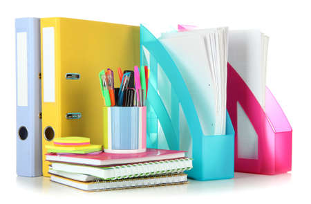 Bright office folders and different stationery isolated on white Zdjęcie Seryjne