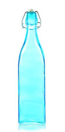 bottleneck: Empty color glass bottle, isolated on white