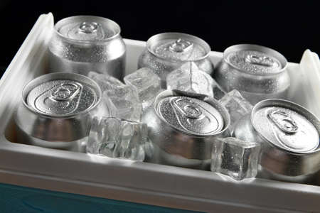Metal cans of beer with ice cubes in mini refrigerator, close up photo