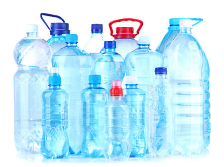 Bottles of water, isolated on white photo
