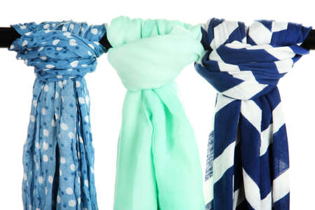 multiple personality: Colored scarves isolated on white