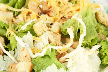 Caesar salad on white plate, close up photo