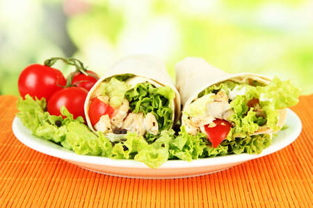 Kebab - grilled meat and vegetables, on bamboo mat, on bright background photo
