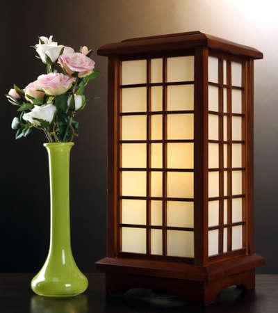 wood burner: Japanese table lamp on brown background