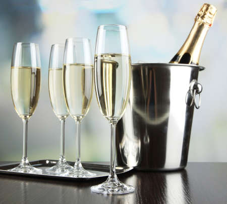 champagne glasses: Champagne in glasses in restaurant Stock Photo