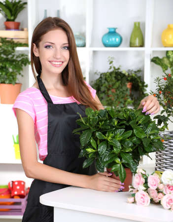 florists: Beautiful girl florist with flowers in flowers shop Stock Photo