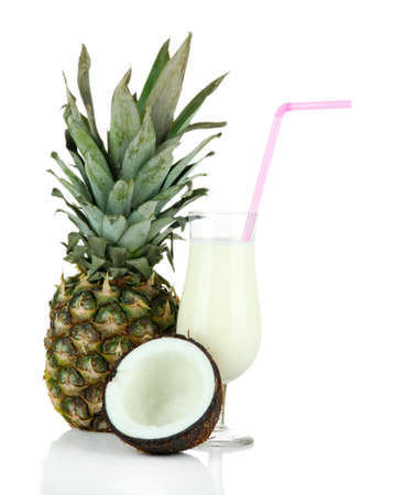 Pina colada drink in cocktail glass, isolated on white photo