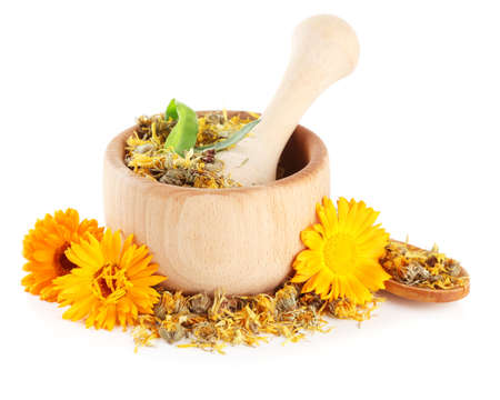 Fresh and dried calendula flowers in wooden mortar  isolated on white Stock Photo - 21211899