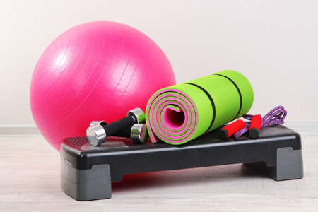 gymnastics equipment: Different tools for fitness in room Stock Photo
