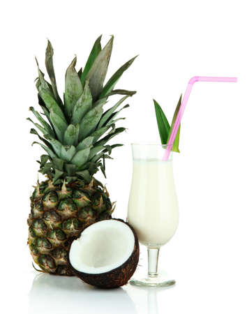 colada: Pina colada drink in cocktail glass, isolated on white Stock Photo