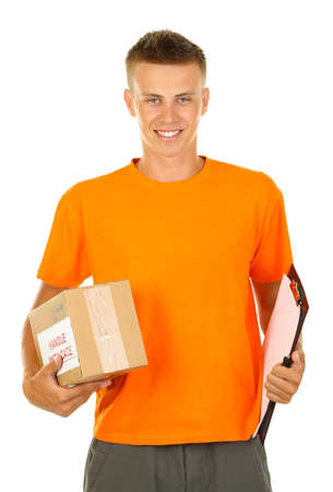 Young delivery man with parcel and clipboard, isolated on white photo