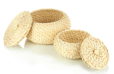 Wicker baskets isolated on white photo