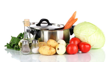Ingredients for cooking soup isolated on white photo