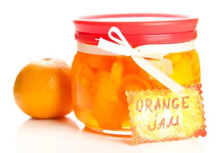 zest: Orange jam with zest and tangerine, isolated on white